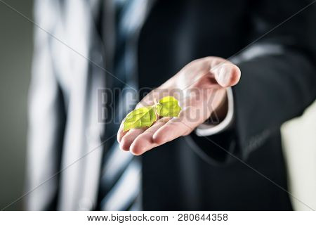 Business Man Holding Green Leaf On Hand. Nature Conservation, Global Warming, Climate Change And Pol