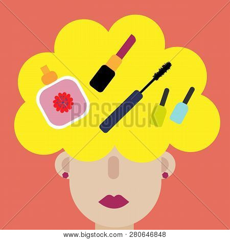 Modern Art Collage. Woman Thinks Cosmetics. Young Caucasian Business Woman Thinking. Young Fashion C