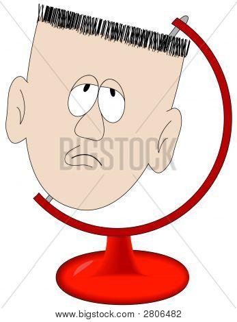 Man Head In Globe Stand