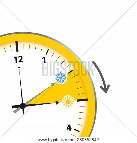 Summer Time Standard Time After Advancing For Daylight Saving Time Vector Illustration Eps10