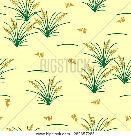 Savanna, Pasture Inspired Seamless Vector Pattern. Simple Grass Tufts In Green And Mustard Yellow, S