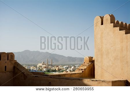 Nakhal Mosquea Seen From The Crenellated Walls Of The Fort (oman)