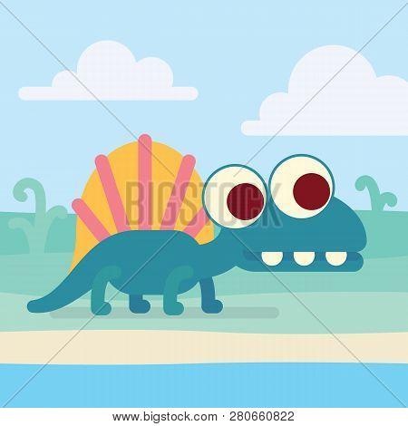 Cute Dimetrodon On The Shore. Animal Life. Vector Illustration Of Prehistoric Character In Flat Cart