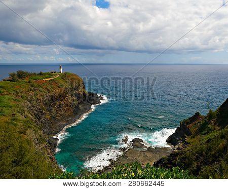 Kilauea Point On The Island Of Kauai. Kilauea Point National Wildlife Refuge