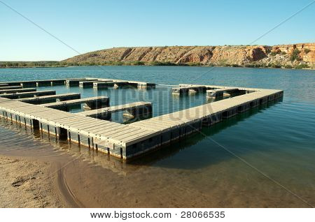 Bottomless Lakes State Park, boat docks, cliffs and lake