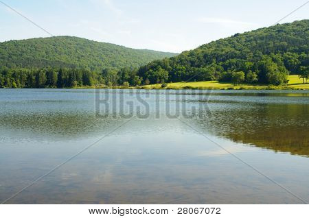 Red House Lake and hills
