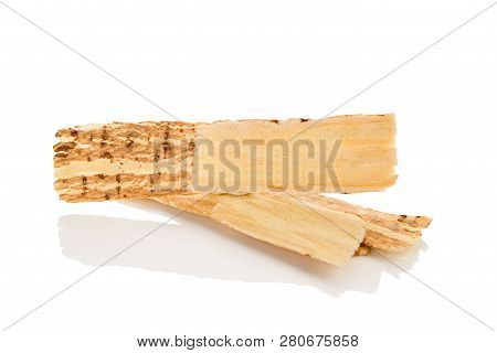 Astragalus Root Slices Isolated On White Background From Above. Stimulate The Immune System. Improve