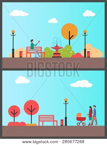 Man Relaxing In Autumn Park Sitting On Bench Vector. Family With Perambulator Walking, Strolling Par
