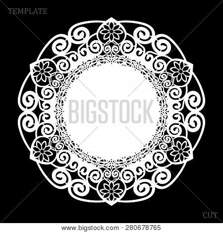 Lace Round Paper Doily, Greeting Element, Laser Cut  Template, Doily To Decorate The Cake,  Vector I