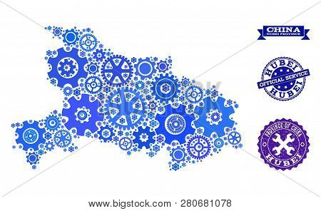 Map Of Hubei Province Composed With Blue Gear Symbols, And Isolated Rubber Stamps For Official Repai