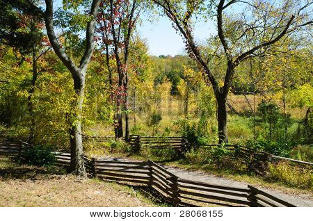 Stones River Greenway trail and wooden fence