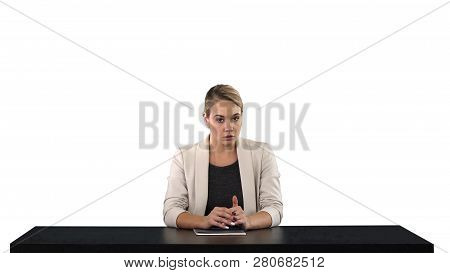 A Female Newsreader Presenting The News, Add Your Own Text Or Image Screen Behind Her, White Backgro