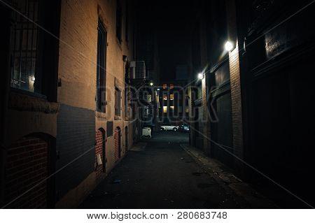 Dark Street. Urban Slums At Night. Ghetto