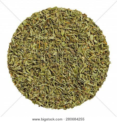 Dried Savory. Herb Circle From Above Isolated Over White. Disc Made Of Chopped Summer Savory, Sature
