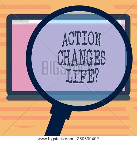 Word Writing Text Action Changes Things. Business Concept For Overcoming Adversity By Taking Action