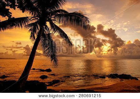 Colorful Sunrise  On The Beach In Lavena Village On Taveuni Island, Fiji. Taveuni Is The Third Large