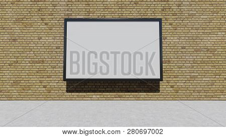 One Blank Billboard On The Brick Wall