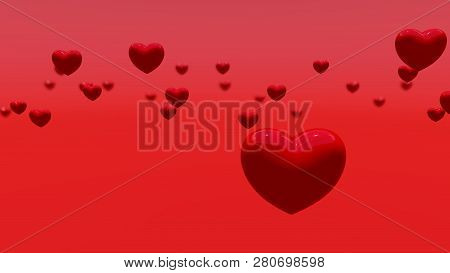 Red Hearts On The Red Background, Bokeh, 3d Rendering