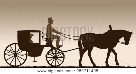 Silhouette Of A Carriage. Silhouette Of A Carriage With The Coachman. Four-wheel Carriage. Vector Il