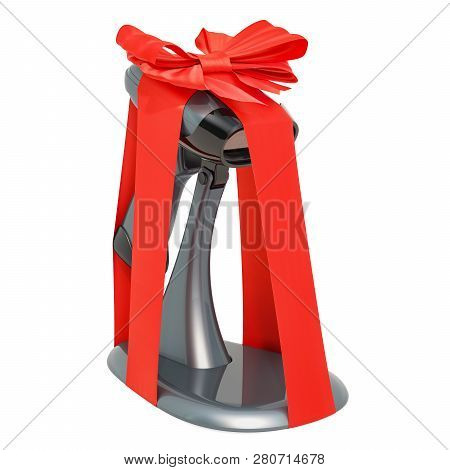 Barcode Reader With Bow And Ribbon, Gift Concept. 3d Rendering Isolated On White Background