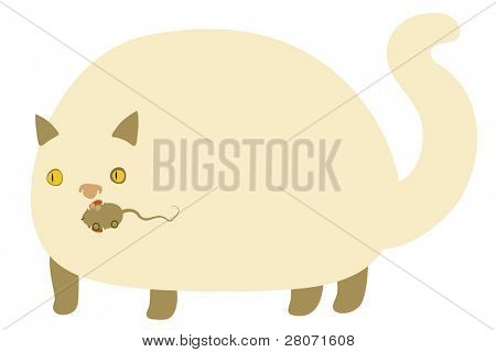 vector illustration of cream cat with mechanical mouse in his teeth poster