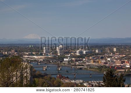 Portland, Oregon - April 14, 2014:  A View Of City Buildings And Bridges Over The Willamette River W