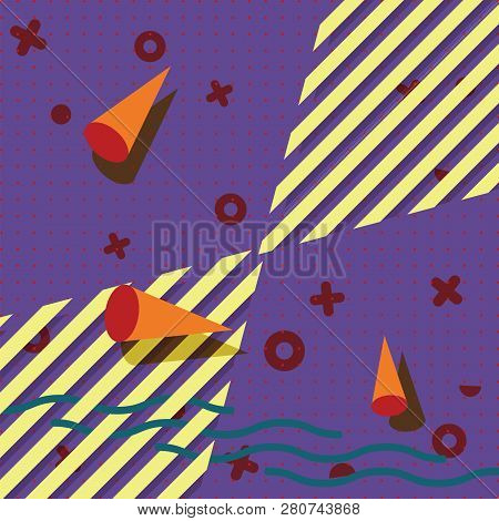 Abstract Geometric Pattern. Memphis Style. Retro, Bright Colorful. Trendy Colors. Background For Des