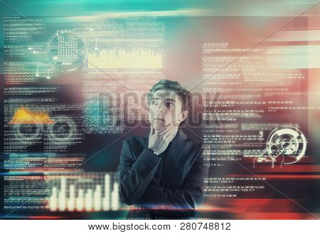 Businessman Analyze Data From A Futuristic Media Interface.