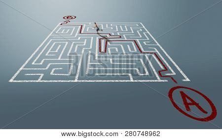 Man Going From Point A To Point B Through A Labyrinth.