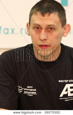 TOMSK, RUSSIA - JULY 1: Anatoly Merenkov - representative of the professional league pancration to SFO at a press conference at the agency Inter-fax Siberia, July 1, 2009 in Tomsk, Russia.