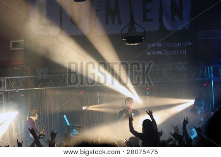 """TOMSK, RUSSIA - OCTOBER 2: At the concert music band """"Lumen"""" in the night club """"Metro"""", October 2, 2009 in Tomsk, Russia."""