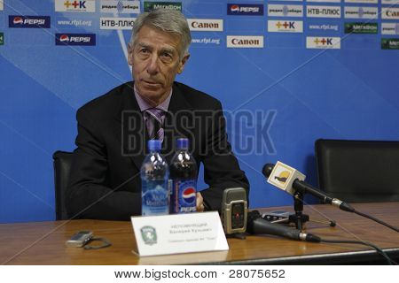 TOMSK, RUSSIA - APRIL 18: Valery Nepomnyashchiy - head coach of FC Tom (Tomsk), at a press conference after the match Spartak (Nalchik) – Tom (Tomsk), April 18, 2009 in Tomsk, Russia.