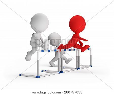 3d Person Running Over Obstacles. 3d Image. White Background.