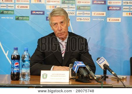 TOMSK, RUSSIA - APRIL 5: Valery Nepomnyashchiy - head coach of FC Tom (Tomsk), at a press conference after the match Tom'(Tomsk) - Zenit (Spb), April 5, 2009 in Tomsk, Russia.