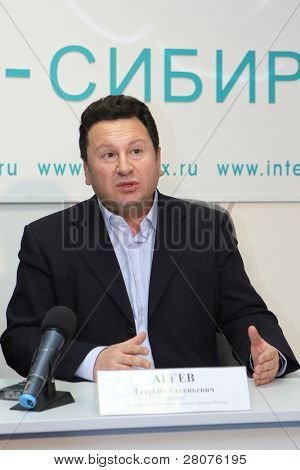 TOMSK, RUSSIA - DEC 4: George Ageev - Director of the National Philharmonic Orchestra of Russia at a press conference in agency Interfax-Siberia, December 4, 2009 in Tomsk, Russia.