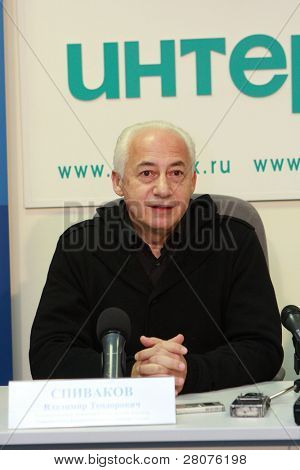 TOMSK, RUSSIA - DEC 4: Vladimir Spivakov - artistic director and chief conductor of the National Philharmonic Orchestra of Russia in agency Interfax-Siberia, December 4, 2009 in Tomsk, Russia.