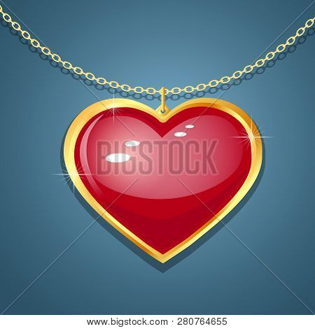 Pendant - Heart On The Chain. Red Colored Heart Shape Gemstone. Vector Illustration. On A Dark Backg