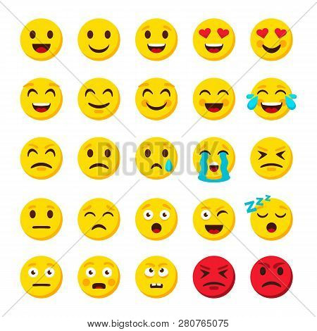 Emoji Set. Emoticon Cartoon Emojis Symbols Digital Chat Objects Vector Icons Set