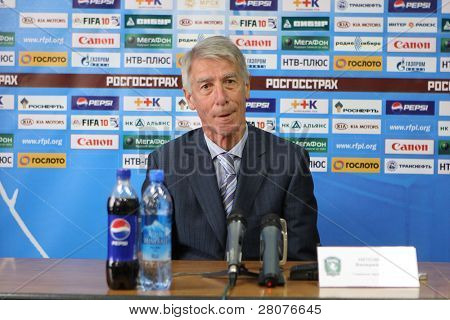 TOMSK, RUSSIA - SEPTEMBER 20: Valery Nepomnyashchiy - head coach of FC Tom (Tomsk), at a press conference after the match Tom'(Tomsk) - Rubin (Kazan), September 20, 2009 in Tomsk, Russia.