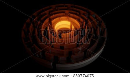 3d Circular Maze With A Bright Red Flash On A Dark Background. Business Concept. 3d Illustration