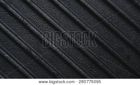 Black Used Rough Cast Iron Griddle Grill Pan Ribbed Background