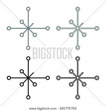 Helm Of Awe Aegishjalmur Or Egishjalmur Galdrastav Icon Set Grey Black Color Vector Illustration Out