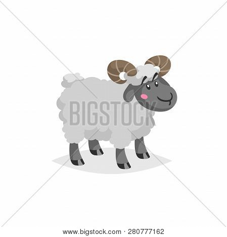 Cartoon Ram With Horns. Wooly Cute Male Farm Animal Stay. Vector Trendy Design Illustration Isolated