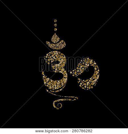 Vector Flat Illustration.esoteric Symbol Ohm Gold On Black Backgdround.