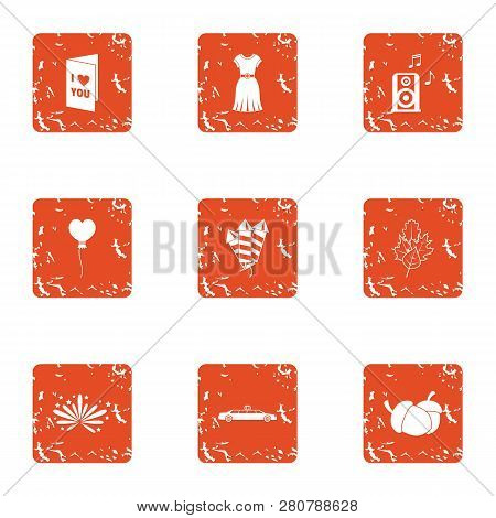 Congratulations to beloved icons set. Grunge set of 9 congratulations to beloved icons for web isolated on white background poster