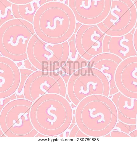 American Dollar Copper Coins Seamless Pattern. Magnetic Scattered Pink Usd Coins. Success Concept. U