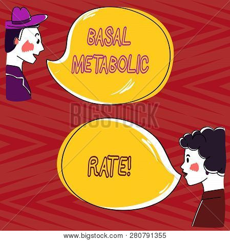 Writing note showing Basal Metabolic Rate. Business photo showcasing Minimum energy level require to sustain vital function Hand Wo analysis Talking photo with Blank Color Speech Bubble. poster