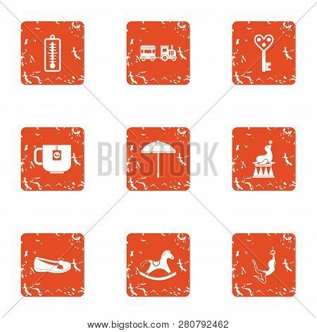 Debut Icons Set. Grunge Set Of 9 Debut Icons For Web Isolated On White Background
