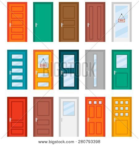 Colorful Front Doors To Houses And Buildings Set In Flat Design Style. Set Of Color Door Icons, Vect