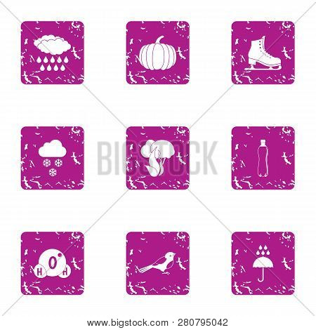 Natural Precipitation Icons Set. Grunge Set Of 9 Natural Precipitation Icons For Web Isolated On Whi